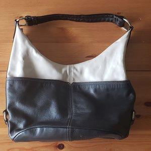 Tignanello Leather Black and Cream Shoulder Bag